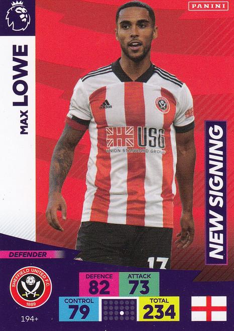 #194+ Max Lowe (Sheffield United) Adrenalyn XL Premier League PLUS 2020/21 NEW SIGNINGS