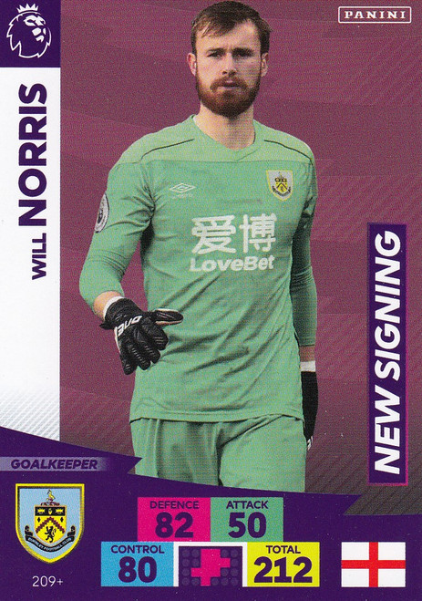 #209+ Will Norris (Burnley) Adrenalyn XL Premier League PLUS 2020/21 NEW SIGNINGS