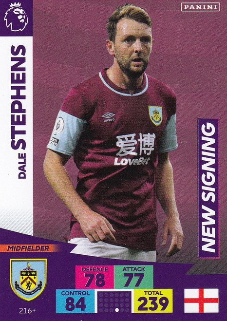 #216+ Dale Stephens (Burnley) Adrenalyn XL Premier League PLUS 2020/21 NEW SIGNINGS