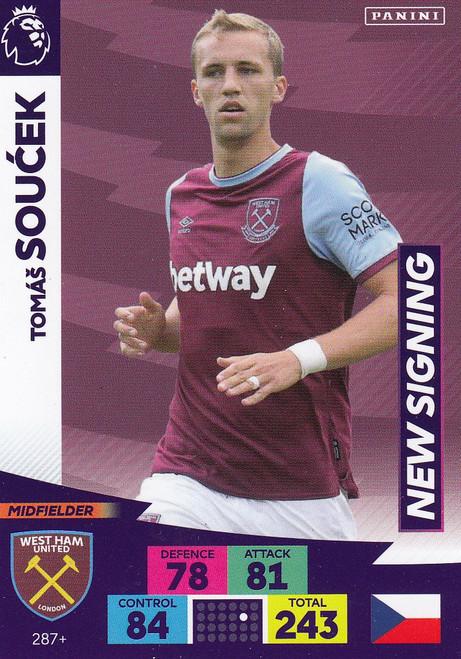 #287+ Tomas Soucek (West Ham United) Adrenalyn XL Premier League PLUS 2020/21 NEW SIGNINGS