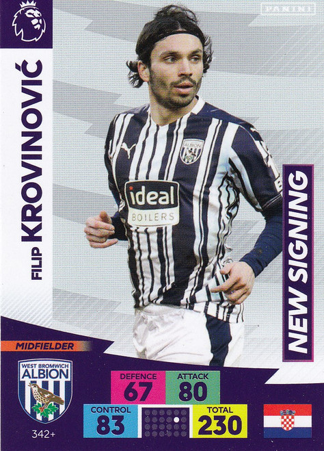 #342+ Filip Krovinovic (West Bromwich Albion) Adrenalyn XL Premier League PLUS 2020/21 NEW SIGNINGS