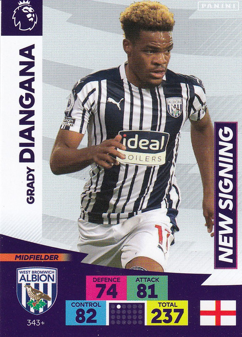 #343+ Grady Diangana (West Bromwich Albion) Adrenalyn XL Premier League PLUS 2020/21 NEW SIGNINGS