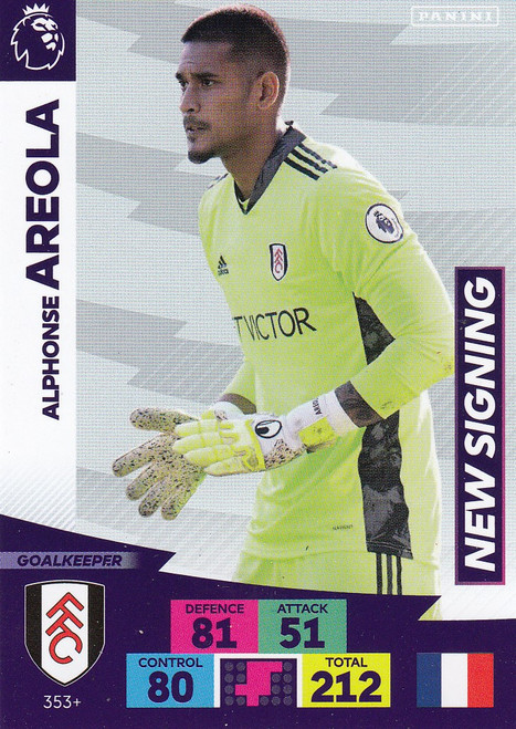 #353+ Alphonse Areola (Fulham) Adrenalyn XL Premier League PLUS 2020/21 NEW SIGNINGS