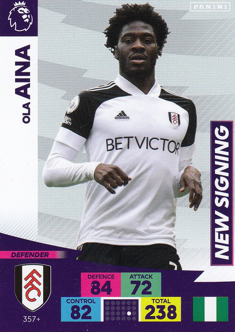 #357+ Ola Aina (Fulham) Adrenalyn XL Premier League PLUS 2020/21 NEW SIGNINGS