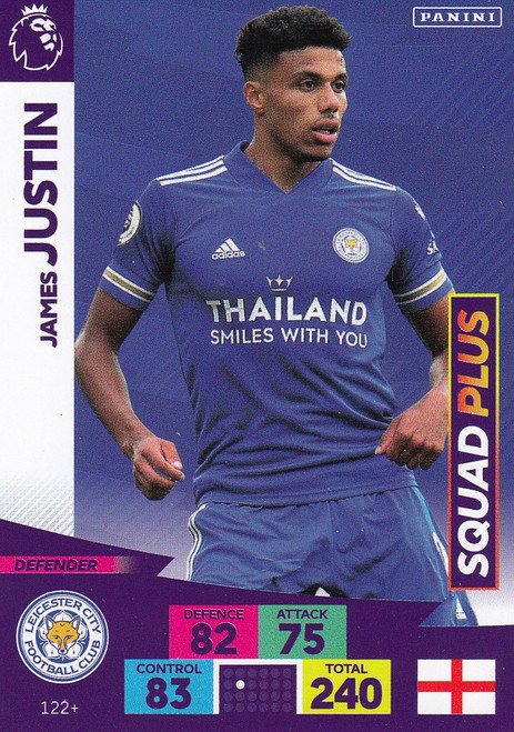 #122+ James Justin (Leicester City) Adrenalyn XL Premier League PLUS 2020/21 SQUAD PLUS