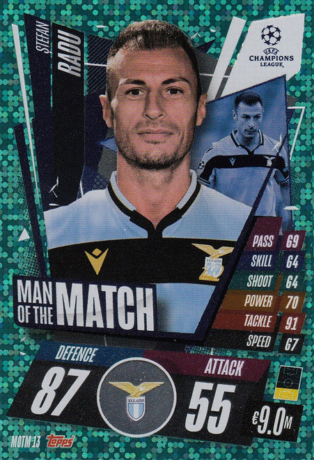 #MOTM13 Stefan Radu (SS Lazio) Match Attax EXTRA 2020/21 MAN OF THE MATCH