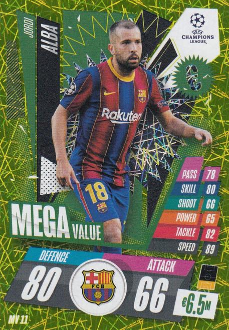 #MV11 Jordi Alba (FC Barcelona) Match Attax EXTRA 2020/21 MEGA VALUE