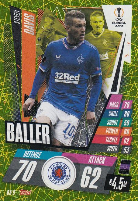 #BA9 Steven Davis (Rangers) Match Attax EXTRA 2020/21 BALLER