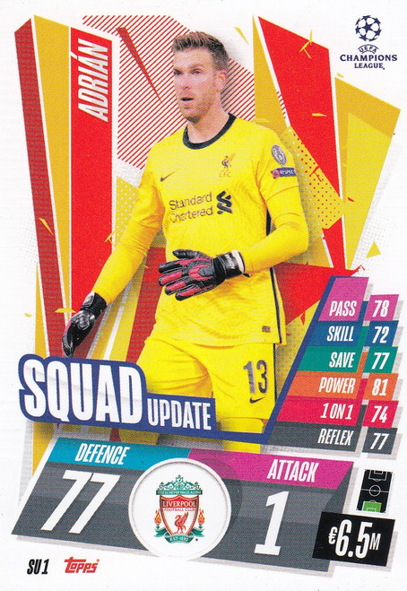 #SU1  Adrián (Liverpool) Match Attax EXTRA 2020/21 SQUAD UPDATE