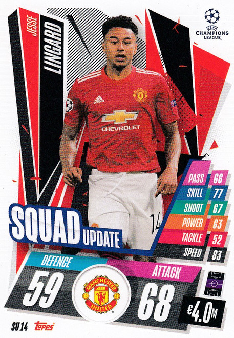 #SU14 Jesse Lingard (Manchester United) Match Attax EXTRA 2020/21 SQUAD UPDATE