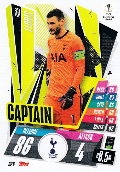#CP6 Hugo Lloris (Tottenham Hotspur) Match Attax EXTRA 2020/21 CAPTAIN