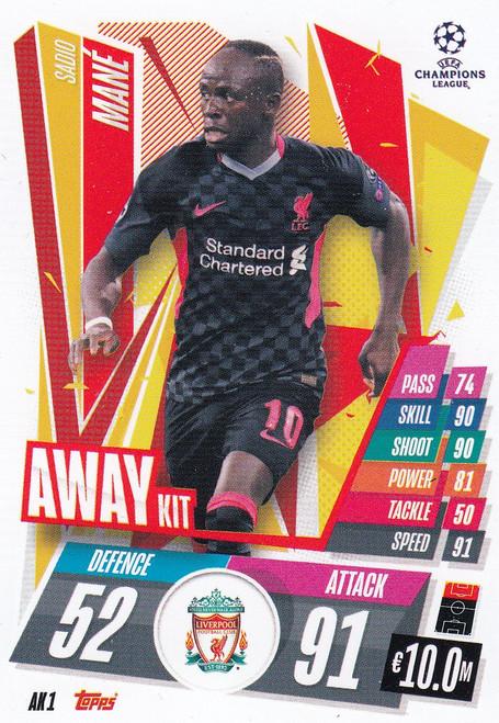 #AK1 Sadio Mané (Liverpool) Match Attax EXTRA 2020/21 AWAY KIT