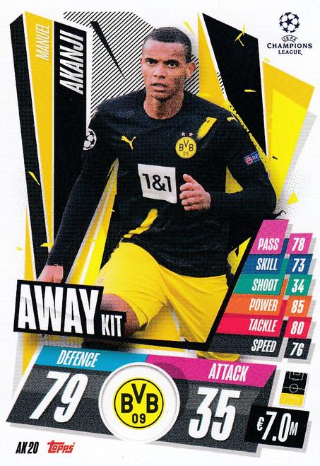 #AK20 Manuel Akanji (Borussia Dortmund) Match Attax EXTRA 2020/21 AWAY KIT