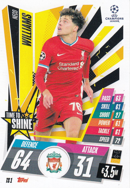 #TS1 Neco Williams (Liverpool) Match Attax EXTRA 2020/21 TIME TO SHINE