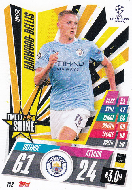 #TS2 Taylor Harwood-Bellis (Manchester City) Match Attax EXTRA 2020/21 TIME TO SHINE