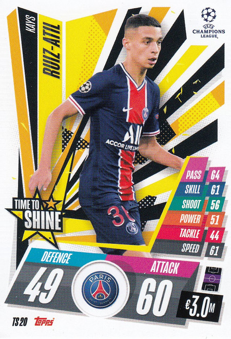 #TS20 Kays Ruiz-Atil (Paris Saint-Germain) Match Attax EXTRA 2020/21 TIME TO SHINE