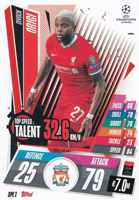 #SPE1 Divock Origi (Liverpool) Match Attax EXTRA 2020/21 TOP SPEED TALENT