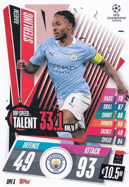 #SPE3 Raheem Sterling (Manchester City) Match Attax EXTRA 2020/21 TOP SPEED TALENT