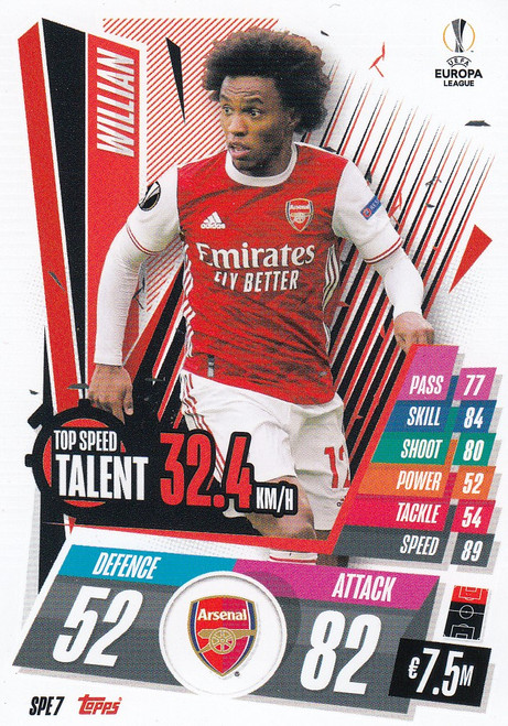 #SPE7 Willian (Arsenal) Match Attax EXTRA 2020/21 TOP SPEED TALENT