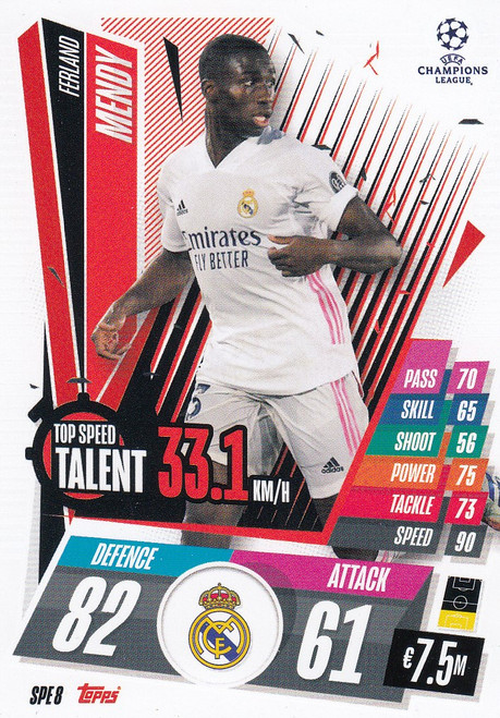 #SPE8 Ferland Mendy (Real Madrid CF) Match Attax EXTRA 2020/21 TOP SPEED TALENT