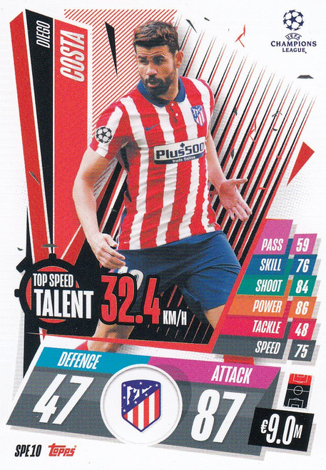 #SPE10 Diego Costa (Atlético de Madrid) Match Attax EXTRA 2020/21 TOP SPEED TALENT