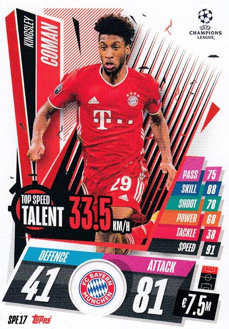 #SPE17 Kingsley Coman (FC Bayern München) Match Attax EXTRA 2020/21 TOP SPEED TALENT
