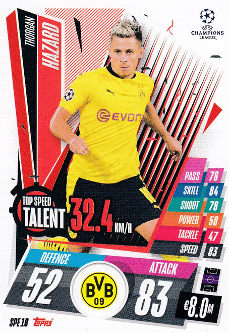 #SPE18 Thorgan Harzard (Borussia Dortmund) Match Attax EXTRA 2020/21 TOP SPEED TALENT