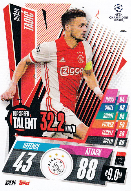 #SPE24 Dušan Tadić (AFC Ajax) Match Attax EXTRA 2020/21 TOP SPEED TALENT