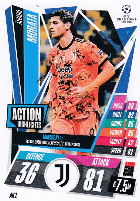 #AH1 Álvaro Morata (Juventus) Match Attax EXTRA 2020/21 ACTION HIGHLIGHTS