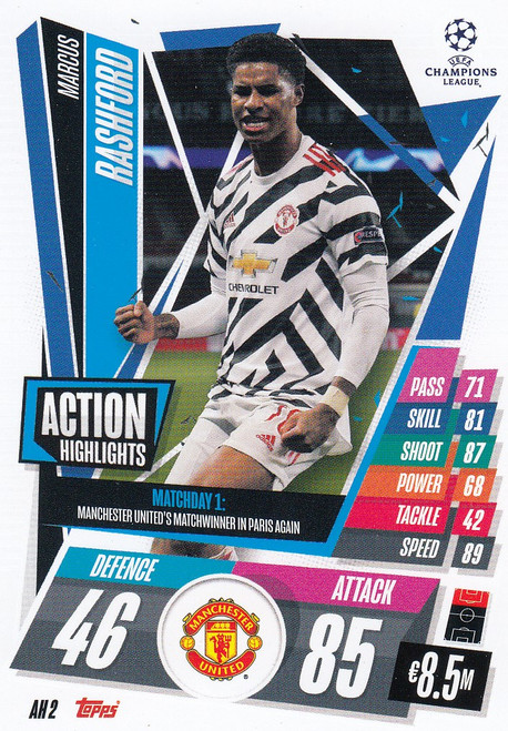 #AH2 Marcus Rashford (Manchester United) Match Attax EXTRA 2020/21 ACTION HIGHLIGHTS