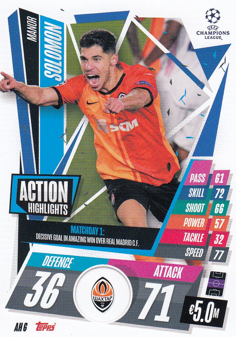 #AH6 Manor Solomon (FC Shakhtar Donetsk) Match Attax EXTRA 2020/21 ACTION HIGHLIGHTS