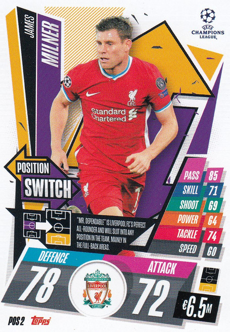 #POS2 James Milner (Liverpool) Topps Match Attax EXTRA 2020/21 collection - POSITION SWITCH