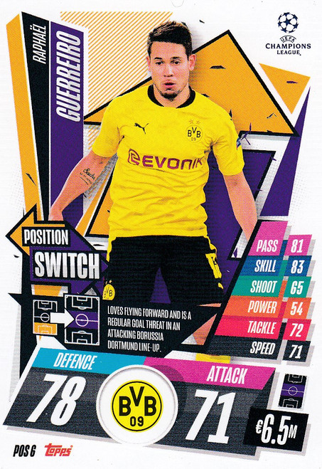 #POS6 Raphaël Guerreiro (Borussia Dortmund) Topps Match Attax EXTRA 2020/21 collection - POSITION SWITCH