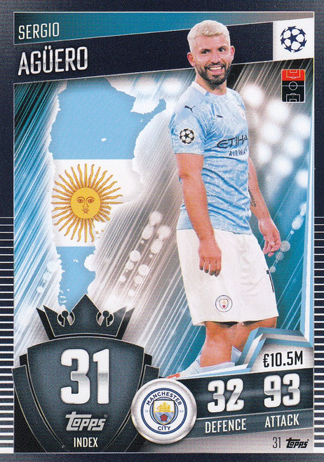 #31 Sergio Agüero (Manchester City) Match Attax 101 2020/21