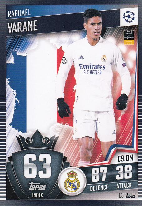 #63 Raphaël Varane (Real Madrid CF) Match Attax 101 2020/21