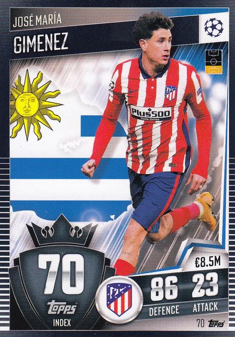 #70 José María Gimenez (Club Atlético de Madrid) Match Attax 101 2020/21