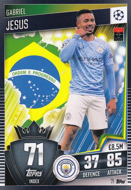 #71 Gabriel Jesus (Manchester City) Match Attax 101 2020/21