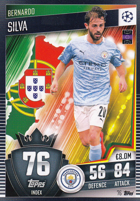 #76 Bernardo Silva (Manchester City) Match Attax 101 2020/21