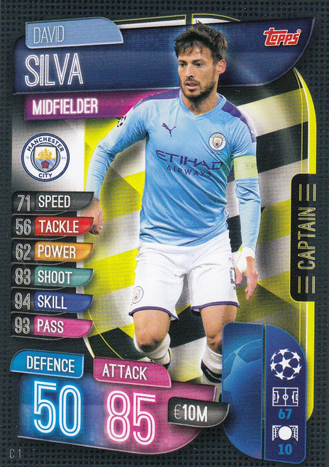 #C1 David Silva (Manchester City) Match Attax EXTRA 2019/20 CAPTAIN