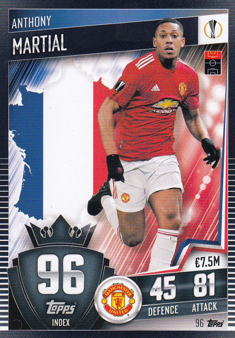 #96 Anthony Martial (Manchester United) Match Attax 101 2020/21