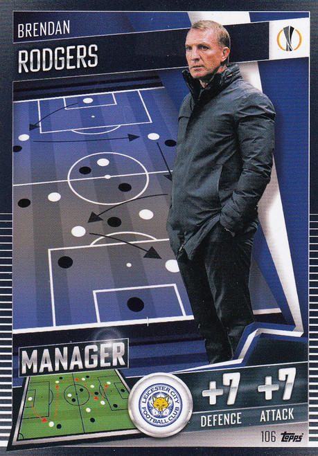 #106 Brendan Rodgers (Leicester City) Match Attax 101 2020/21 MANAGER