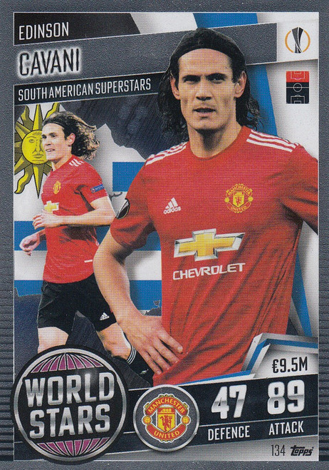 #134 Edinson Cavani (Manchester United) Match Attax 101 2020/21 WORLD STAR