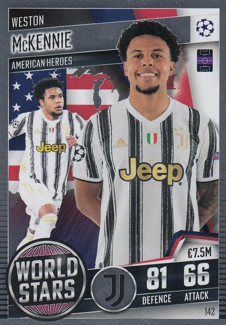 #142 Weston McKennie (Juventus) Match Attax 101 2020/21 WORLD STAR