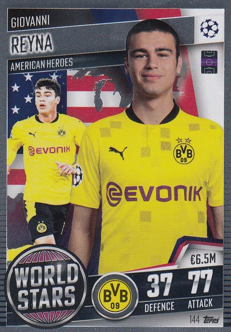 #144 Giovanni Reyna (Borussia Dortmund) Match Attax 101 2020/21 WORLD STAR