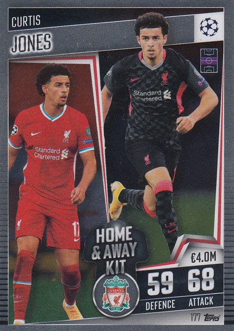 #177 Curtis Jones (Liverpool) Match Attax 101 2020/21 HOME & AWAY KIT
