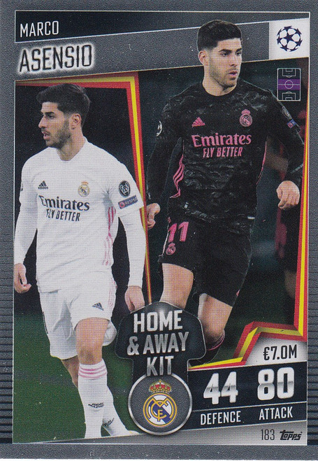 #183 Marco Asensio (Real Madrid CF) Match Attax 101 2020/21 HOME & AWAY KIT