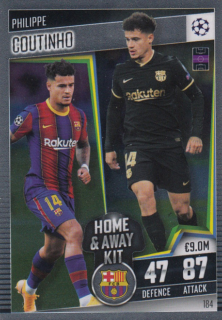 #184 Philippe Coutinho (FC Barcelona) Match Attax 101 2020/21 HOME & AWAY KIT