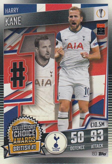 #193 Harry Kane (Tottenham Hotspur) Match Attax 101 2020/21 COLLECTORS' CHOICE AWARDS