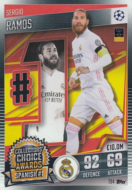 #194 Sergio Ramos (Real Madrid CF) Match Attax 101 2020/21 COLLECTORS' CHOICE AWARDS