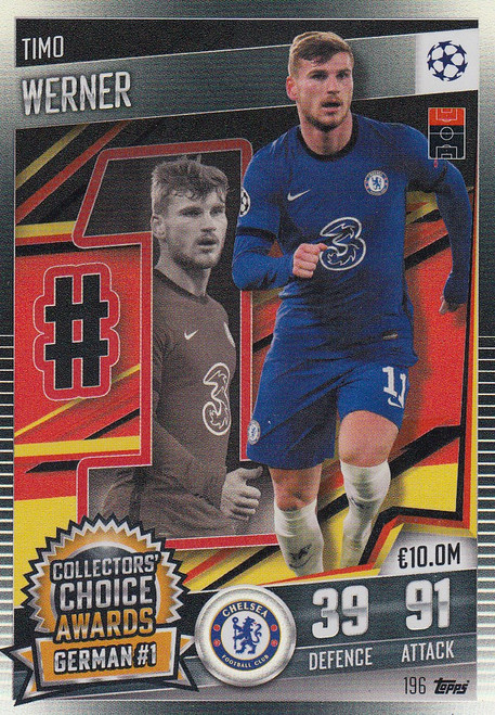 #196 Timo Werner (Chelsea) Match Attax 101 2020/21 COLLECTORS' CHOICE AWARDS